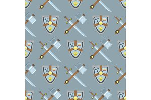 Sword and shield seamless pattern protection design knight background medieval weapon vector illustration