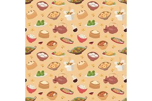 Chinese traditional food steamed dumpling asian delicious seamless pattern vector
