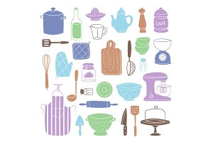 Kitchen utensils food kitchenware cooking set domestic tableware vector illustration isolated