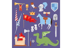 Middle Ages medieval knight Heraldic royal crest elements vintage knighthood castle vector illustration