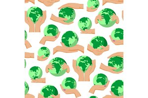 Globe Earth planet in human hands fingers holding world safety global concept vector seamless pattern background