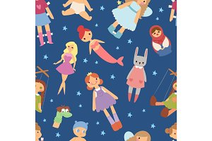 Different dolls like people fashion clothes character seamless pattern background vector illustration