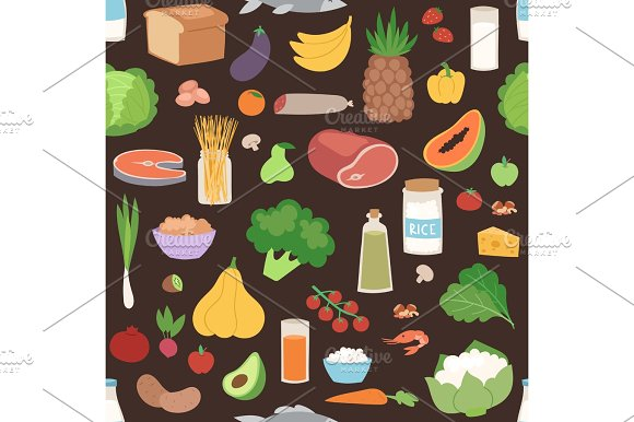 Seamless Pattern With Colored Vegetables Healthy Vegetarian Food Vegan Fresh Organic Vector Illustration