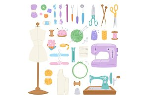 Embroidery fancy-work fine needle-work hobby accessories sewing needle equipment vector illustration