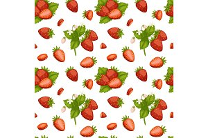Cartoon fresh strawberry fruits seamless pattern berry summer design vector illustration.