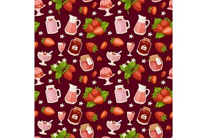 Confectionery desserts strawberry pink delicious product fruit healthy red berry seamless pattern vector illustration background