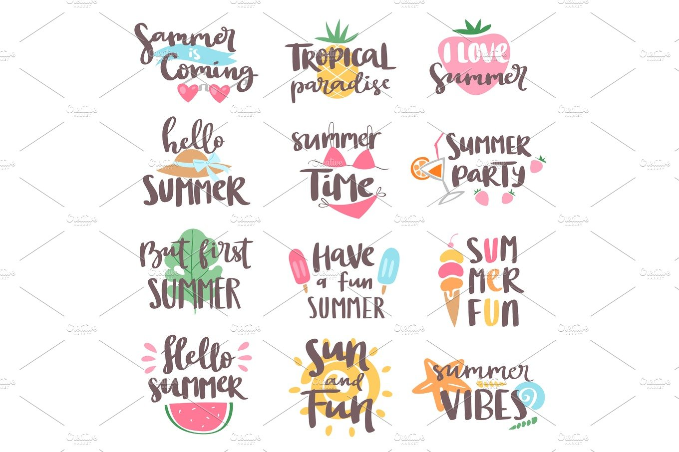 Summer Coming Time Lettering Text Typography Art Hand Drawn Nature