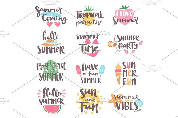 Summer Coming Time Lettering Text Typography Art Hand Drawn Nature Vacation Travel Quote Phrases Vector Illustration