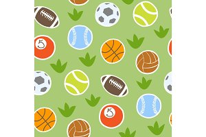 Sport balls isolated vector collection seamless pattern background