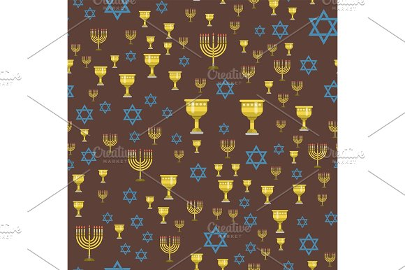 Judaism Church Traditional Seamless Pattern Hanukkah Religious Synagogue Passover Hebrew Jew Vector Illustration