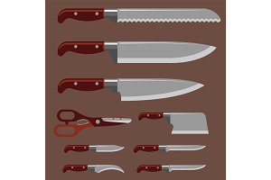 Kitchen knife weapon steel sharp dagger metal military dangerous metallic sword vector illustration