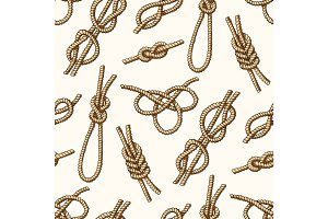 Different sea boat knots types noose rope vector set illustration seamless pattern background