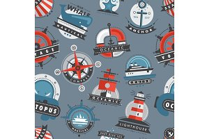 Nautical templates marine sea logo badges anchor design emblems graphics vector seamless pattern background