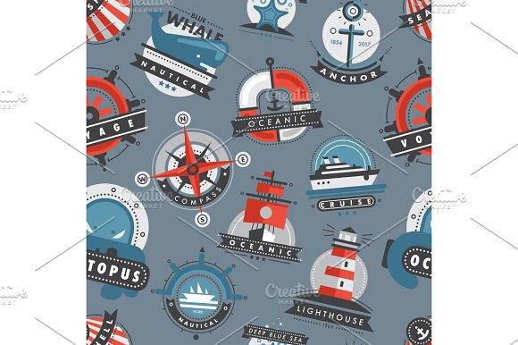Nautical Templates Marine Sea Logo Badges Anchor Design Emblems Graphics Vector Seamless Pattern Background