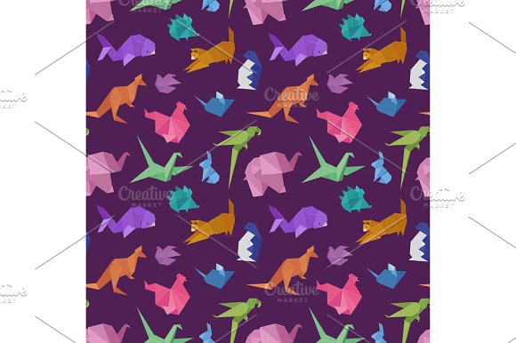 Origami Paper Animals Geometric Game Japanese Toys Design Seamless Pattern Vector Illustration