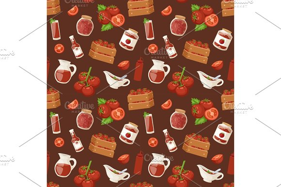 Fresh Background Organic Red Tomato Vegetable Products Seamless Pattern Vector Illustration