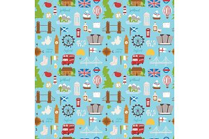 United kingdom Great Britain travel tourism vacation vector illustration seamless pattern
