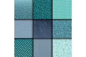 Seamless colorful rain drops pattern background vector water blue nature raindrop abstract illustration