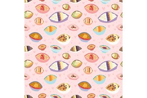 Cartoon seamless pattern healthy oatmeal porridge kasha pap morning cereal meal vector illustration.