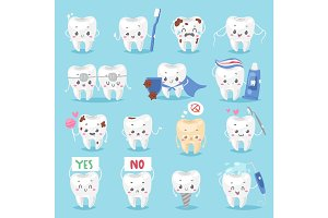 Tooth character personage dental clinic mascot with a toothbrush smiling different human pose vector illustration