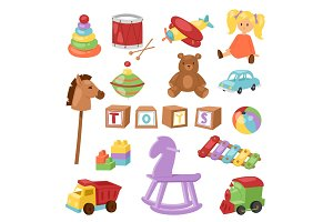 Set of different cartoon vector kids toys collection isolated on white background playfull children stuff