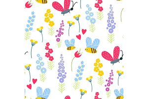 Nature summer flowers and bee insects illustration seamless pattern background floral vector