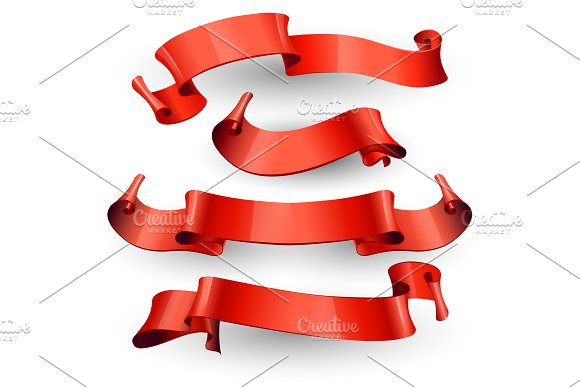 Red Glossy Ribbons