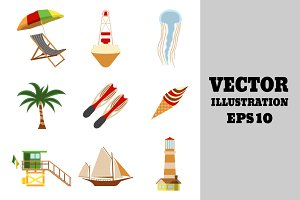 Sea and Tourism flat icon set.