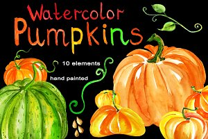 Watercolor set of pumpkins