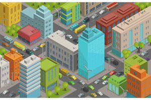 Buildings city streets roads and traffic isometric 3d vector illustration City landscape, top view.