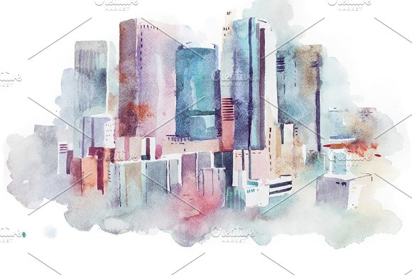Watercolor Drawing Cityscape Big City Downtown Aquarelle Painting