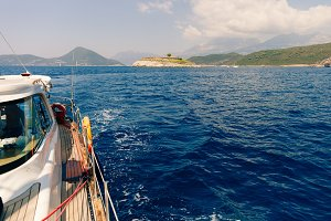 yacht in sea with beautiful view