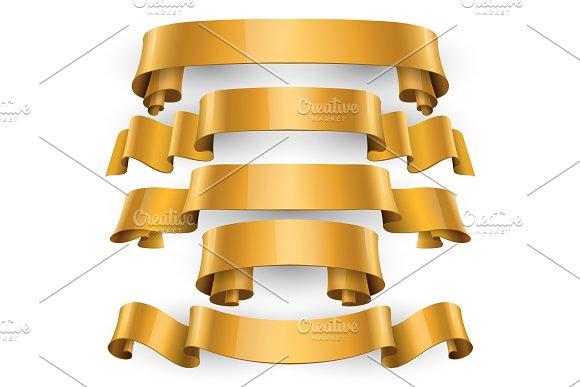 Realistic Gold Glossy Vector Ribbons
