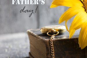 Happy Fathers Day idea, text and sunflower.