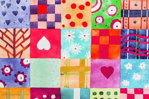 Patchwork pattern. Set of colorful prints patterns watercolor drawing