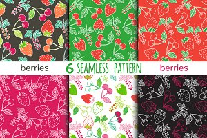 6 bright berry seamless patterns