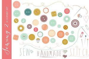 Buttons clip art vintage clipart sew