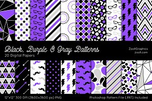 Black, Purple & Gray Digital Papers
