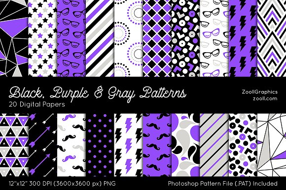 Black Purple Gray Digital Papers