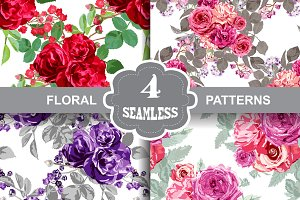 4 Roses Floral Seamless Patterns