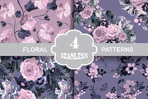4 Violet Floral Seamless Patterns