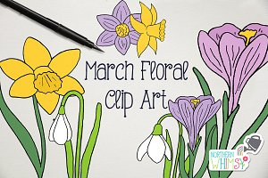 Spring Flower Clip Art Illustrations