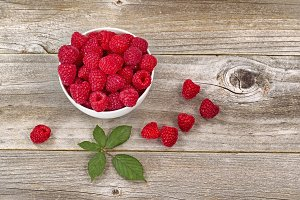 Raspberries in Bowl