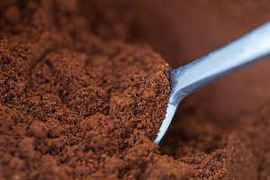 spoon and coffee grounds closeup