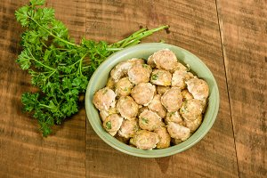 Bowl of baked meat balls ready to serve
