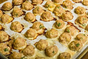 Baked meat balls on pan ready to serve