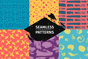 Set funny seamless patterns