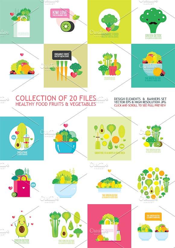 Fruits Vegetables Healthy Food Set
