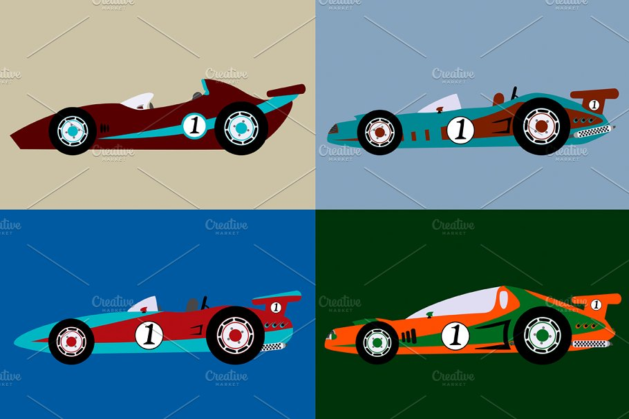 retro race car pack
