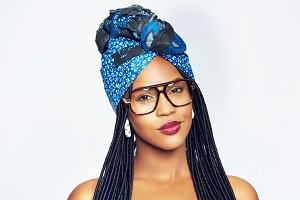 Smiling young African-American woman in glasses